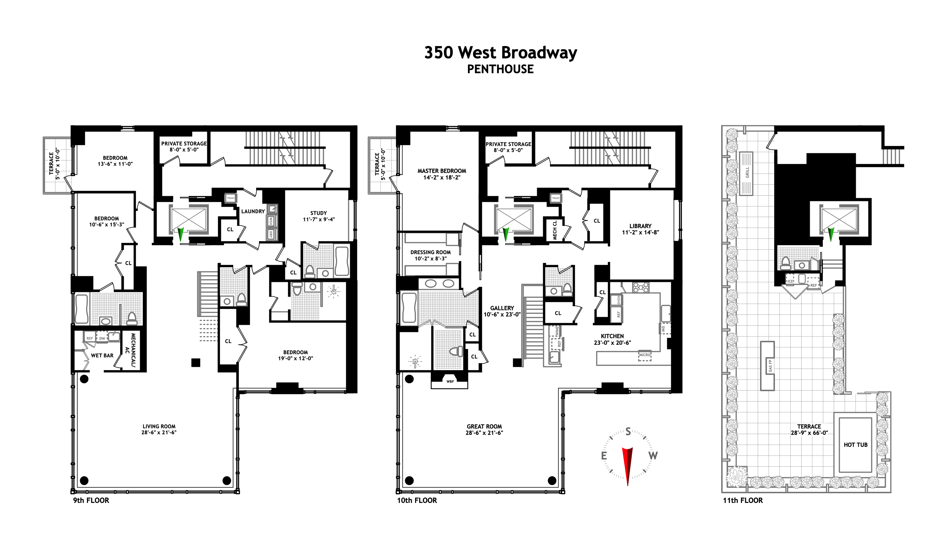 The Penthouse At 350 West Broadway Majestic Penthouses